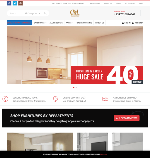 Quality Mark Furiture ecommerce website development